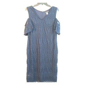 Simply Styled Petite Jacquard Navy Shoulder Dress